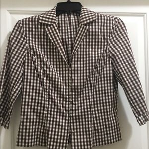 Etcetera Brown and white Checkered Blouse Size 6
